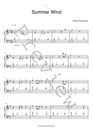 Summer Wind - New Easy Piano Sheet Music