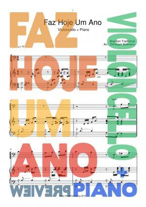Faz Hoje Um Ano - sheetmusic Violoncello with Piano accompaniment